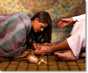 Woman wash Jesus feet
